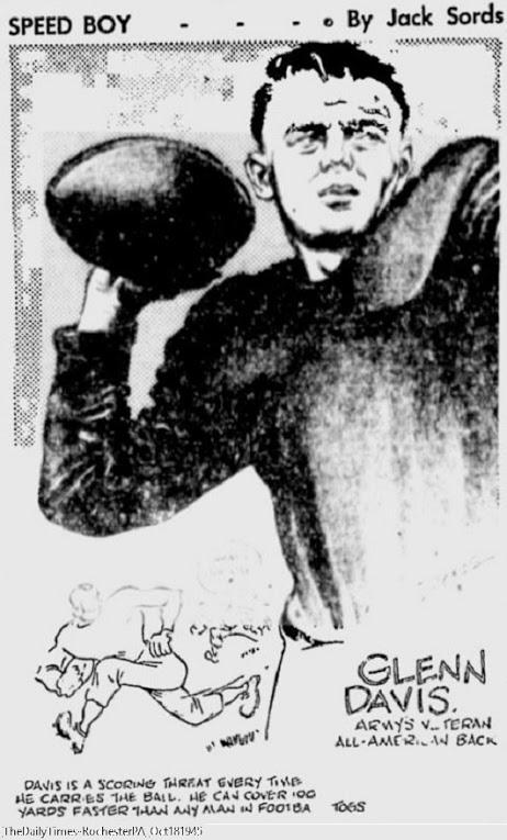 ArmyFB_1945_GlennDavis_byJackSords_TheDailyTimes-RochesterPA_Oct181945