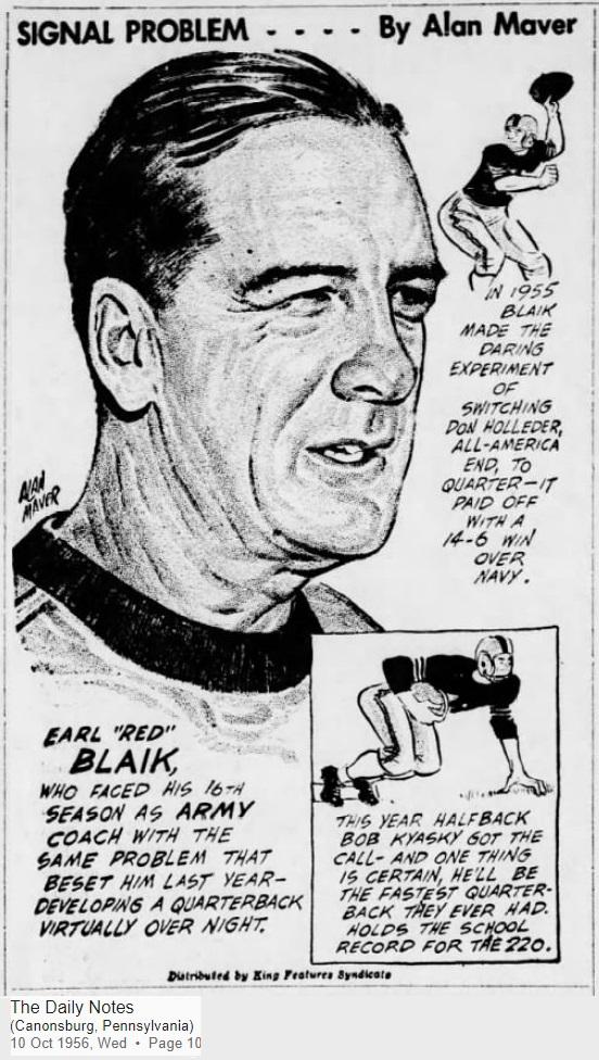 ArmyFB_1956_CoachEarlBlaik_byAlanMaver_DailyNotesCanonsburgPA_Oct101956