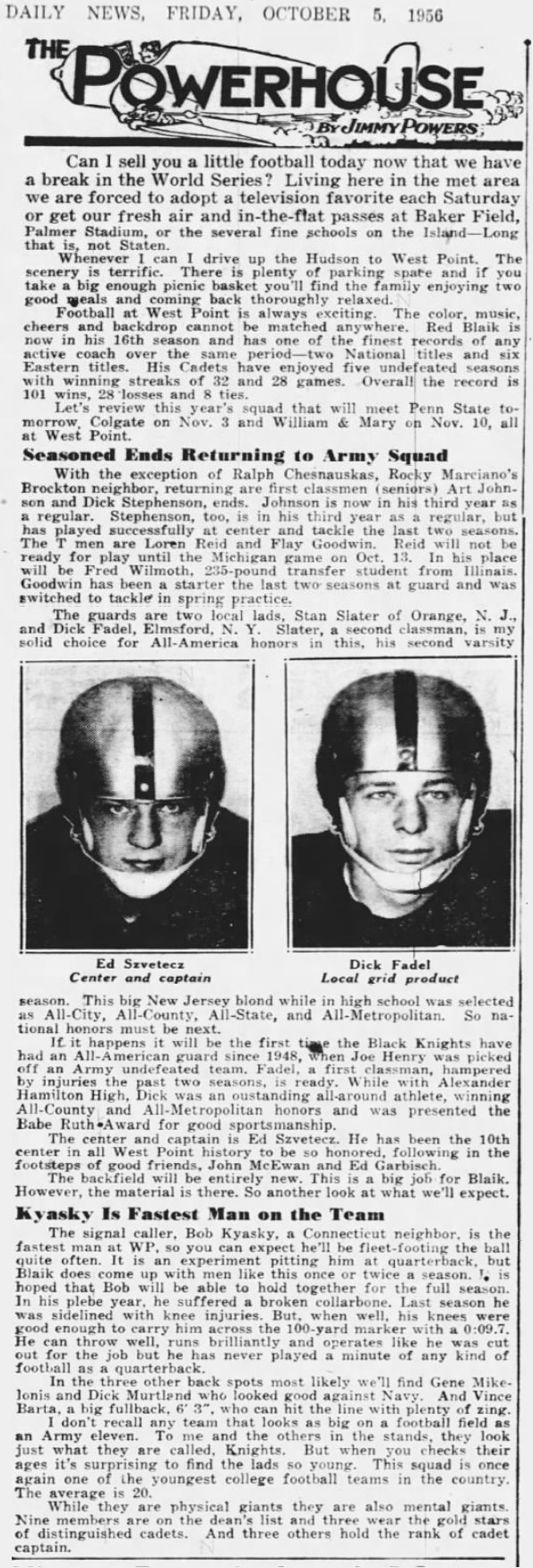 ArmyFB_1956_season-preview_Szvetecz-Fadal_Kyasky_DailyNews_Oct51956