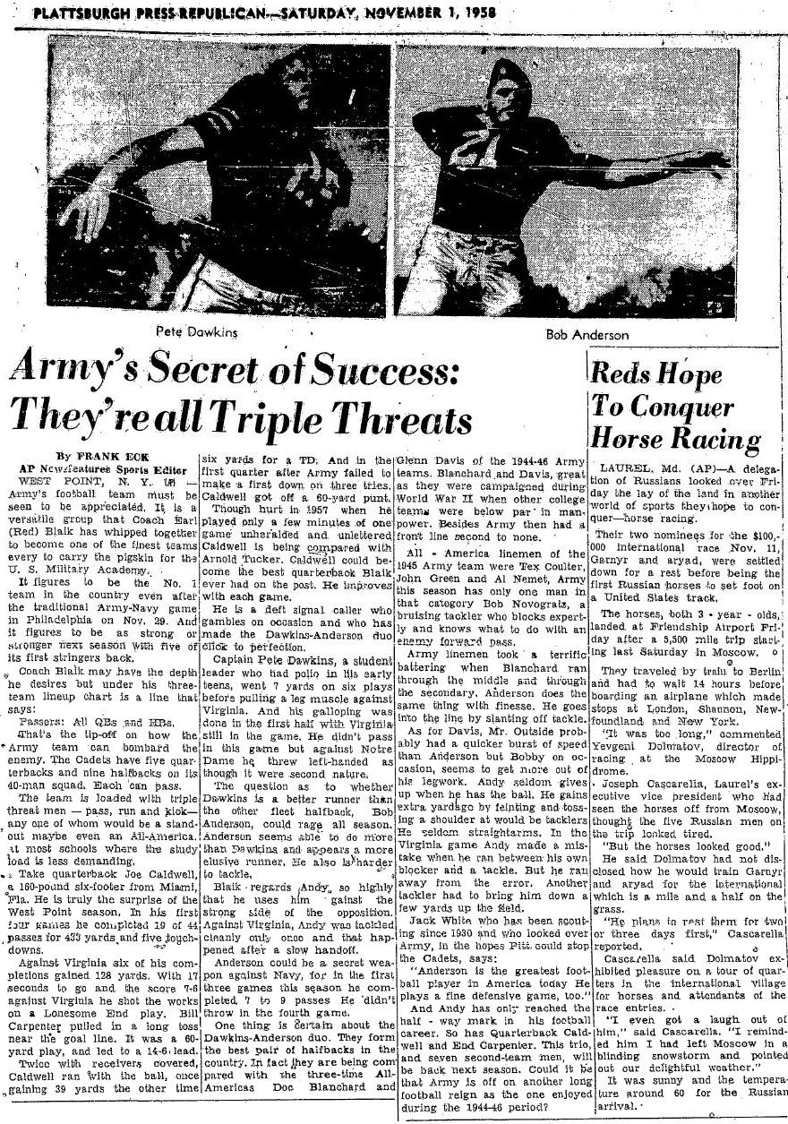 ArmyFB_1958_AndersonDawkins_TripleThreats_PlattsburghPressRepb_1Nov1958