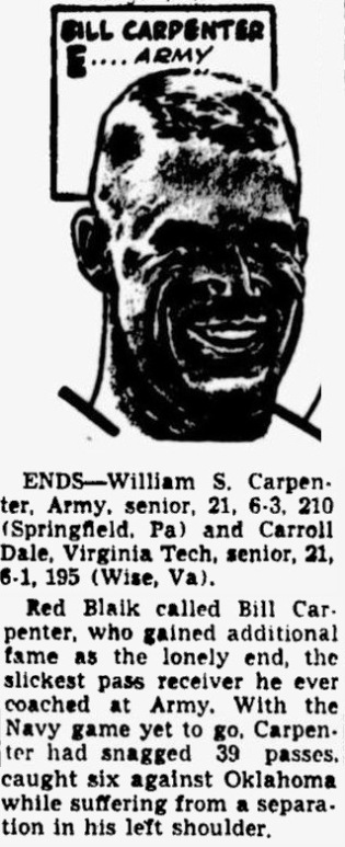 ArmyFB_1959_BillCarpenter_NEA-All-American_byMurrayOlderman_TheTelegraph_Nov251959