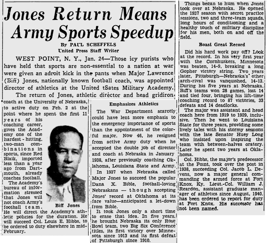 BiffJones_1942_ReturnstoWestPoint_PittsburghPress_Jan241942