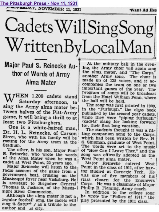 AlmaMater-Reinecke_PittsburghPress_Nov111931