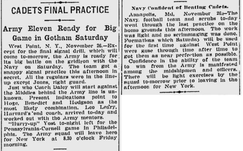 ArmyFB_1913_vsNavy-pre_NewsandCourier_Nov271913