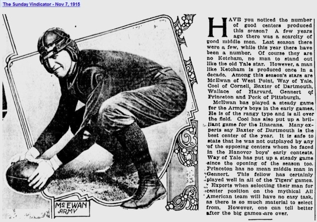 ArmyFB_1915_McEwan_SundayVindicator_YoungstownOH_Nov71915