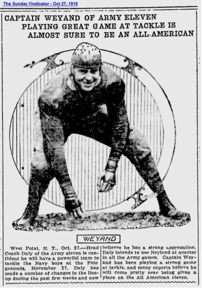 ArmyFB_1915_Weyand_SundayVindicator_YoungstownOH_Oct271915