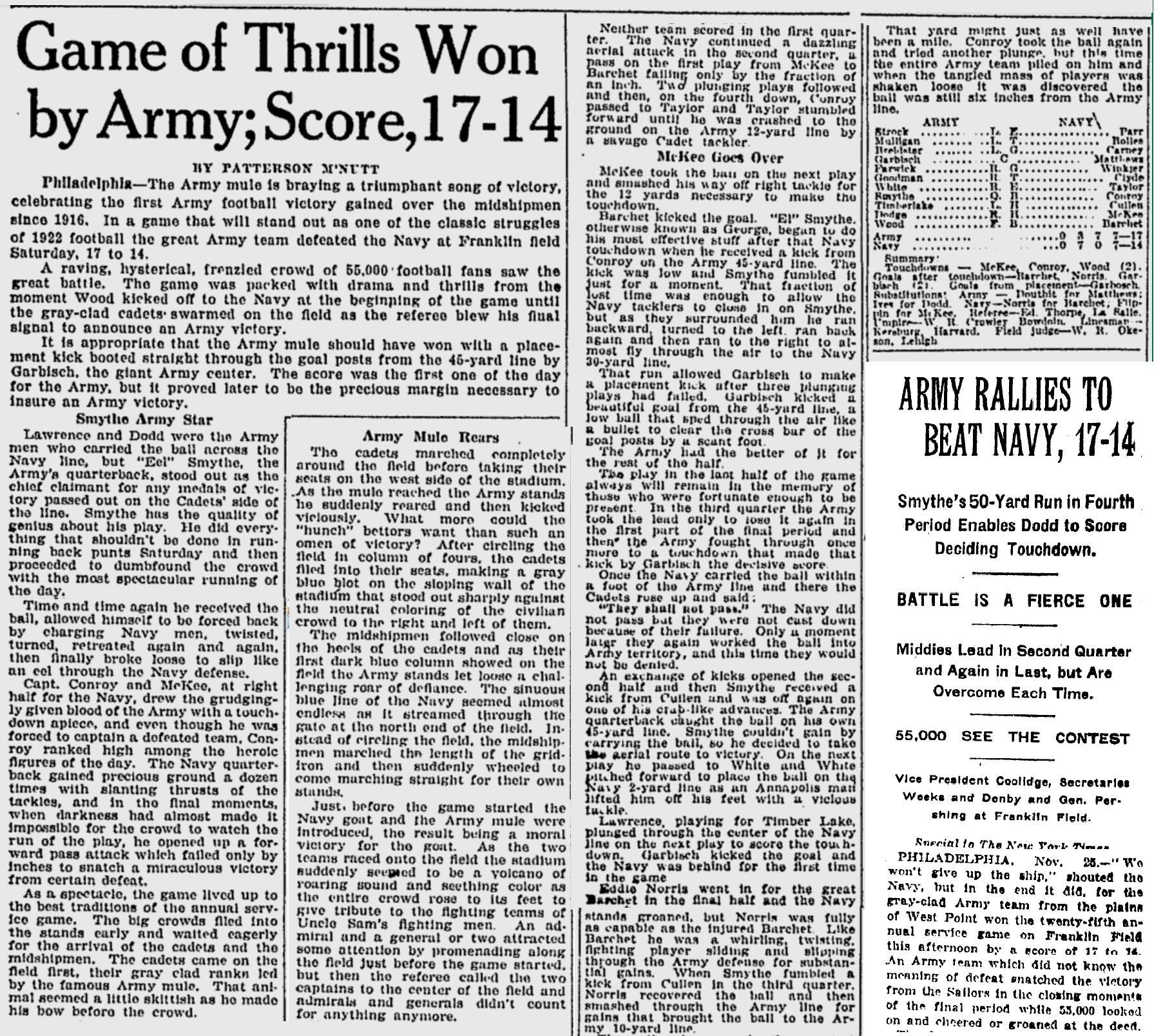 ArmyFB_1922_vsNavy_MilwaukeeJournal_Nov261922