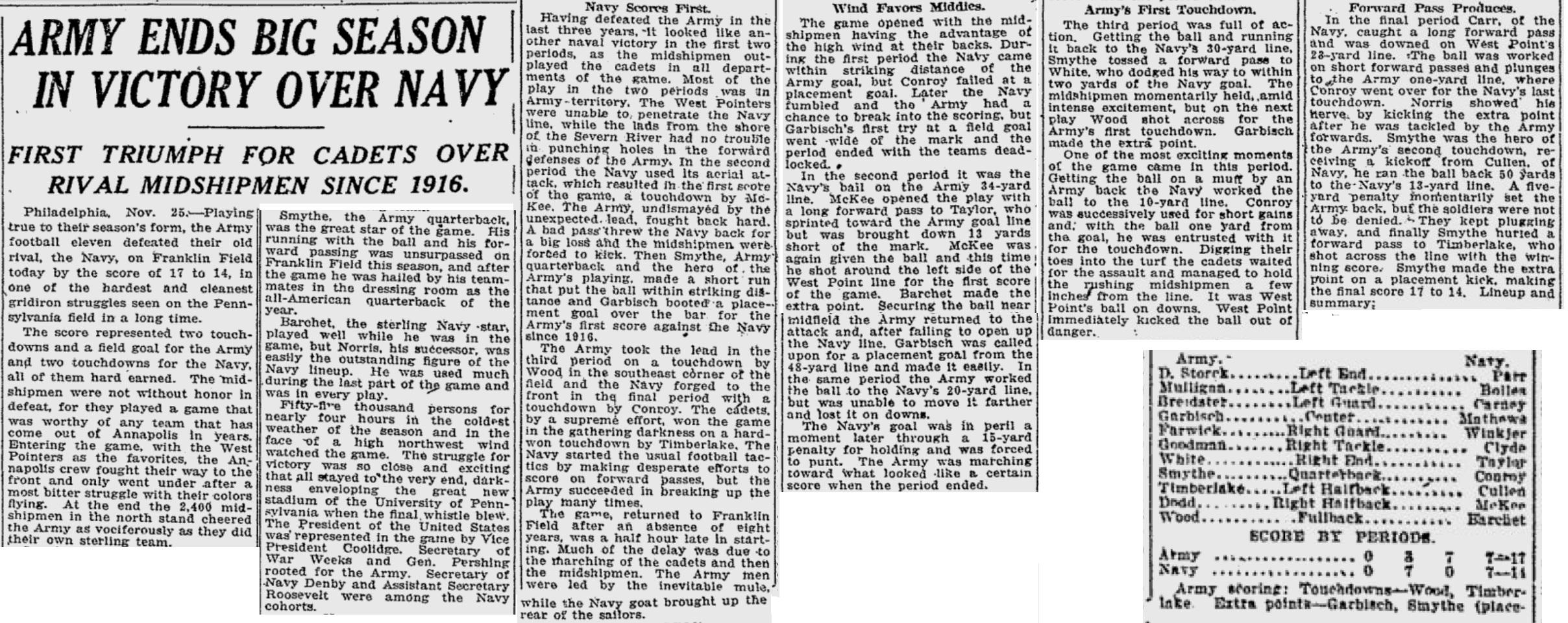 ArmyFB_1922_vsNavy_ReadingEagle_Nov261922