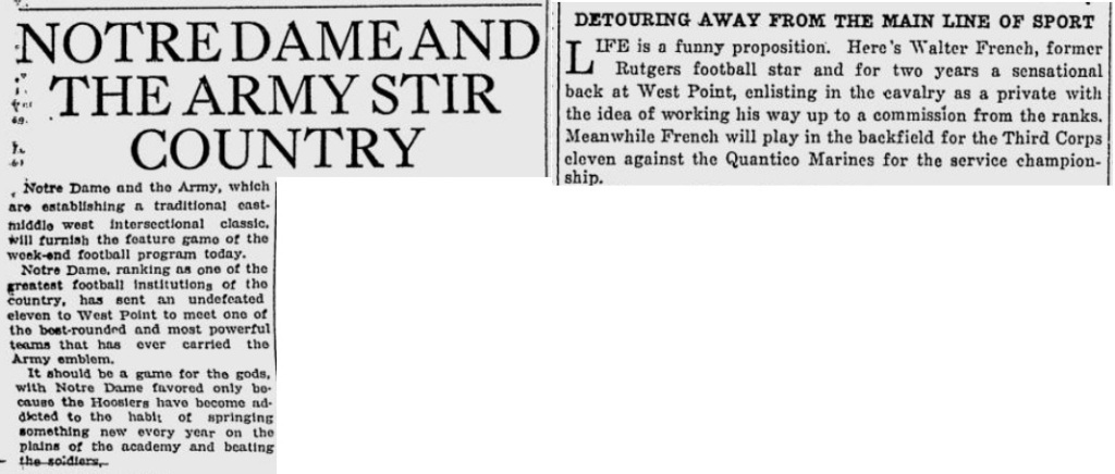 ArmyFB_1922_vsNotreDame-pre_ToledoNewsBee_Nov111922
