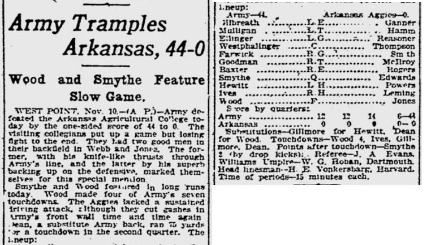 ArmyFB_1923_vsArkansasTech_GazetteTimes_Nov111923