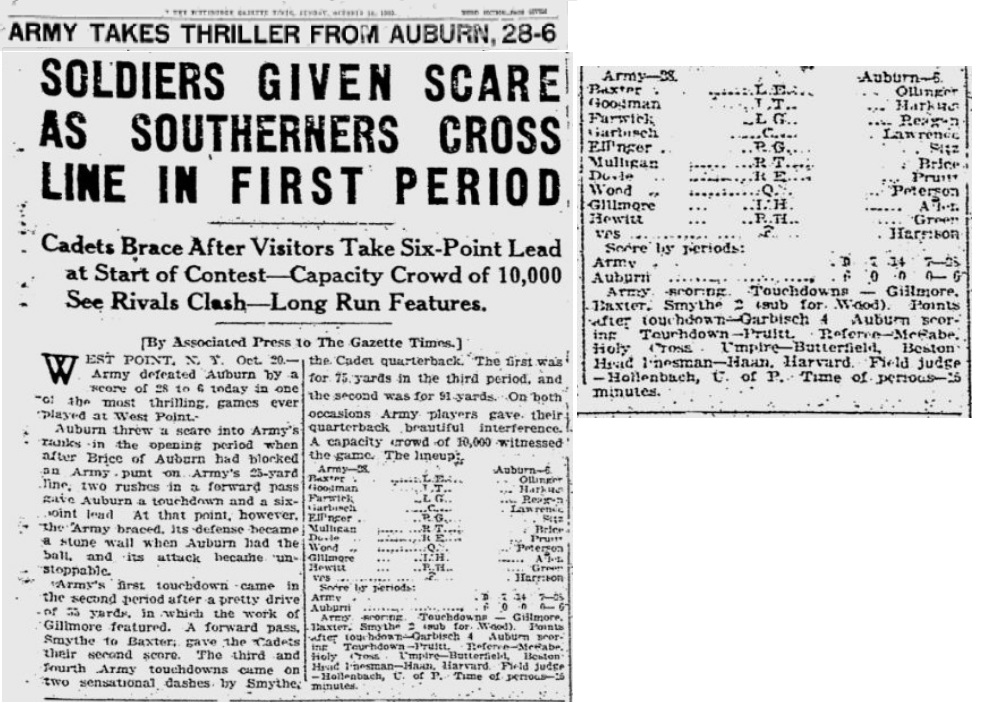 ArmyFB_1923_vsAuburn_GazetteTimes_Oct211923