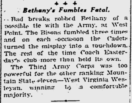 ArmyFB_1923_vsBethany_GazetteTimes_Nov191923