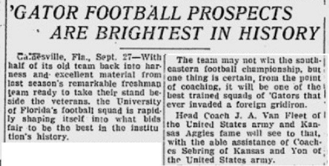 ArmyFB_1923_vsFlorida-pre_EveningIndependent_Sep271923