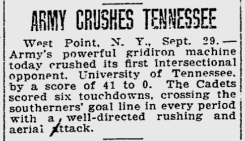 ArmyFB_1923_vsTennessee_ReadingEagle_Sep301923