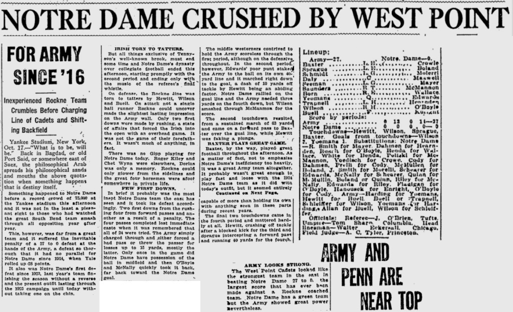 ArmyFB_1925_vsNotreDame_PittsburghPress_Oct181925