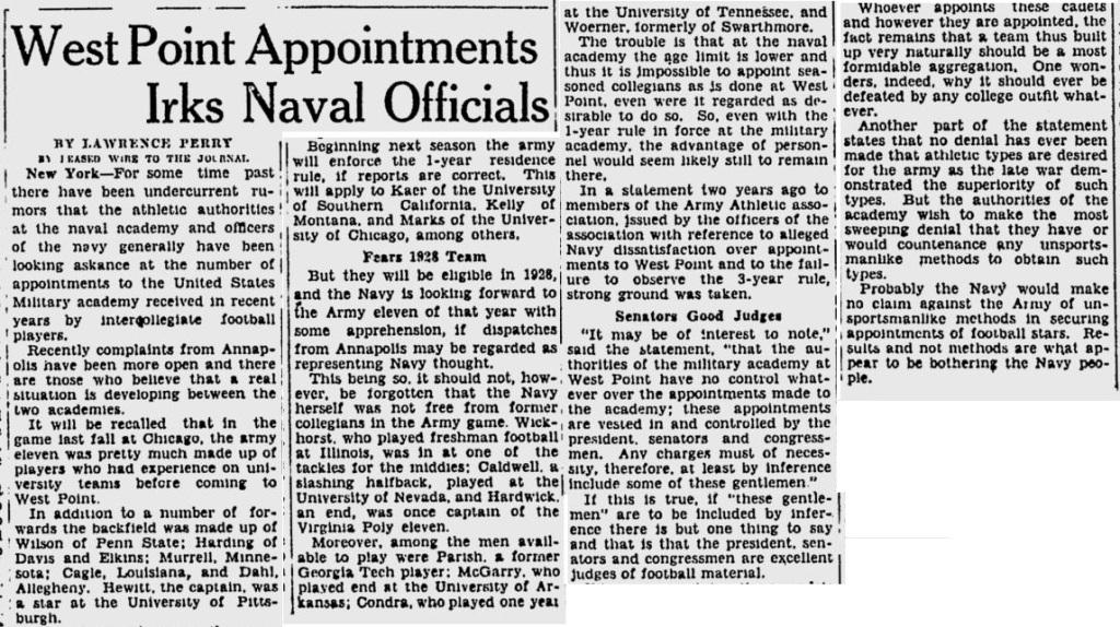 ArmyFB_1927_Eligibility_MilwaukeeJournal_Jan211927