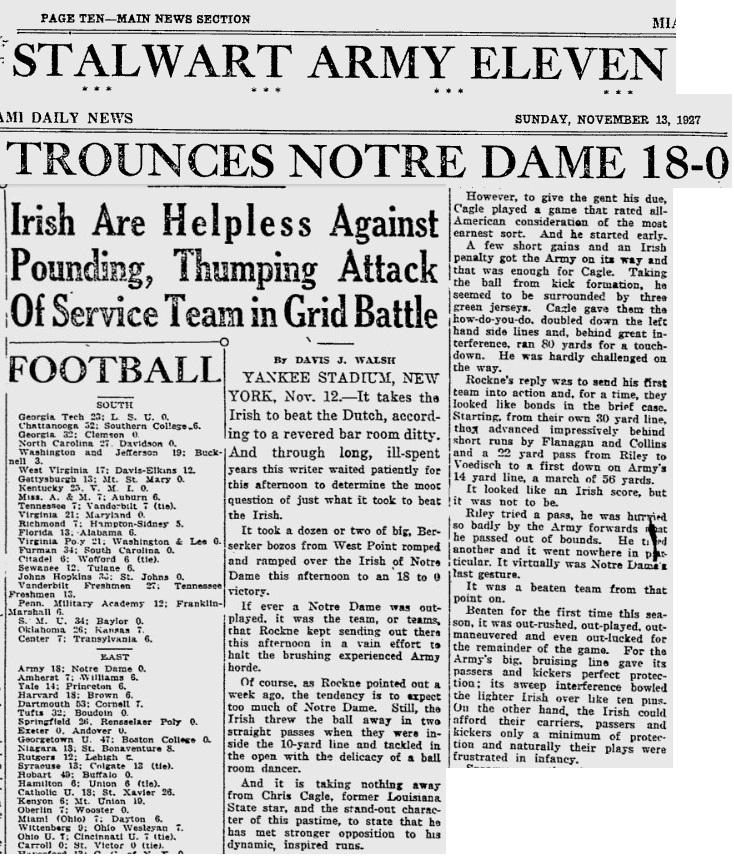 ArmyFB_1927_vsNotreDame_PittsburgPress_Nov131927