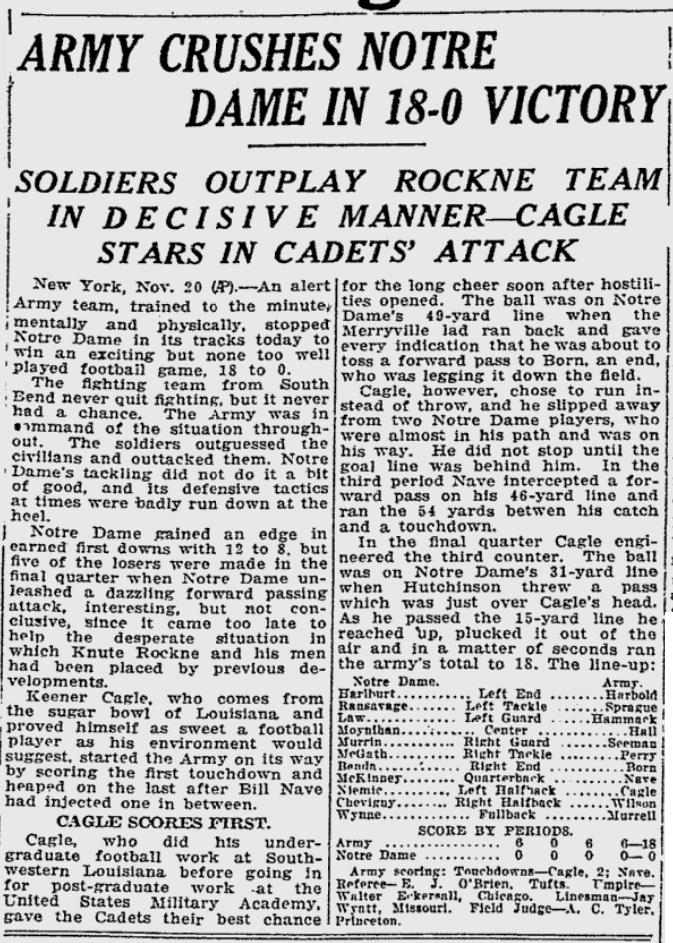 ArmyFB_1927_vsNotreDame_ReadingEagle_Nov131927