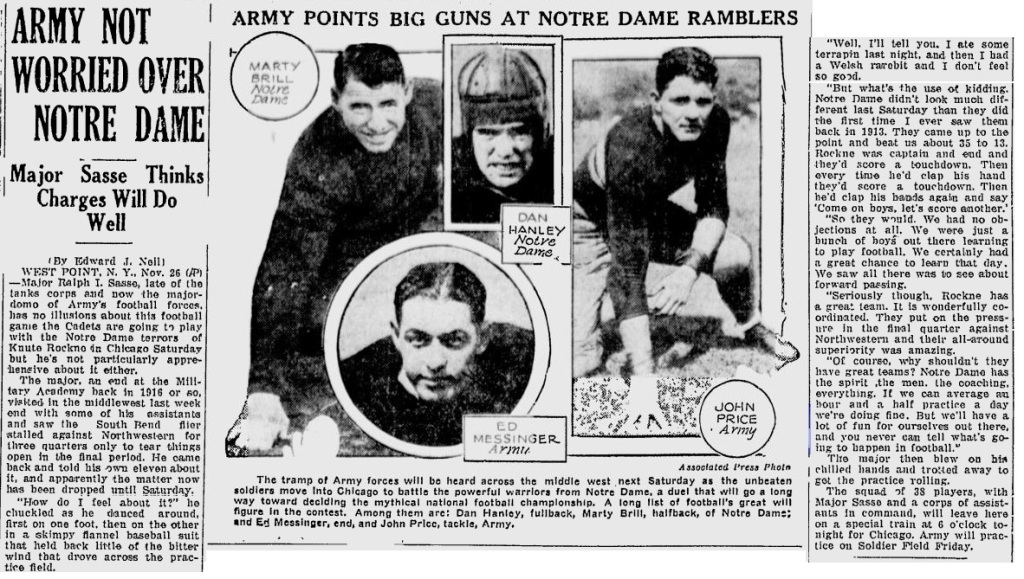 ArmyFB_1930_vsNotreDame_TheTelegraph_Nov261930