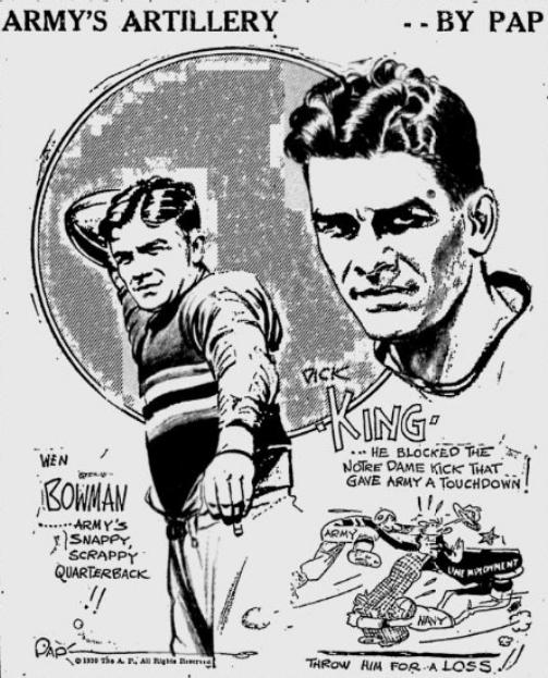 ArmyFB_1930_WenBowman-DickKing_PrescottEveningCourier_Dec111930