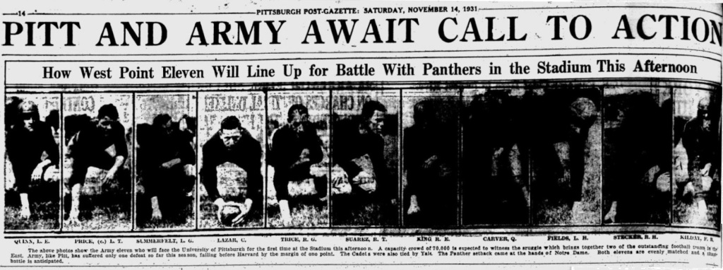 ArmyFB_1931_starters_PittsburghPostGazette_Nov141931