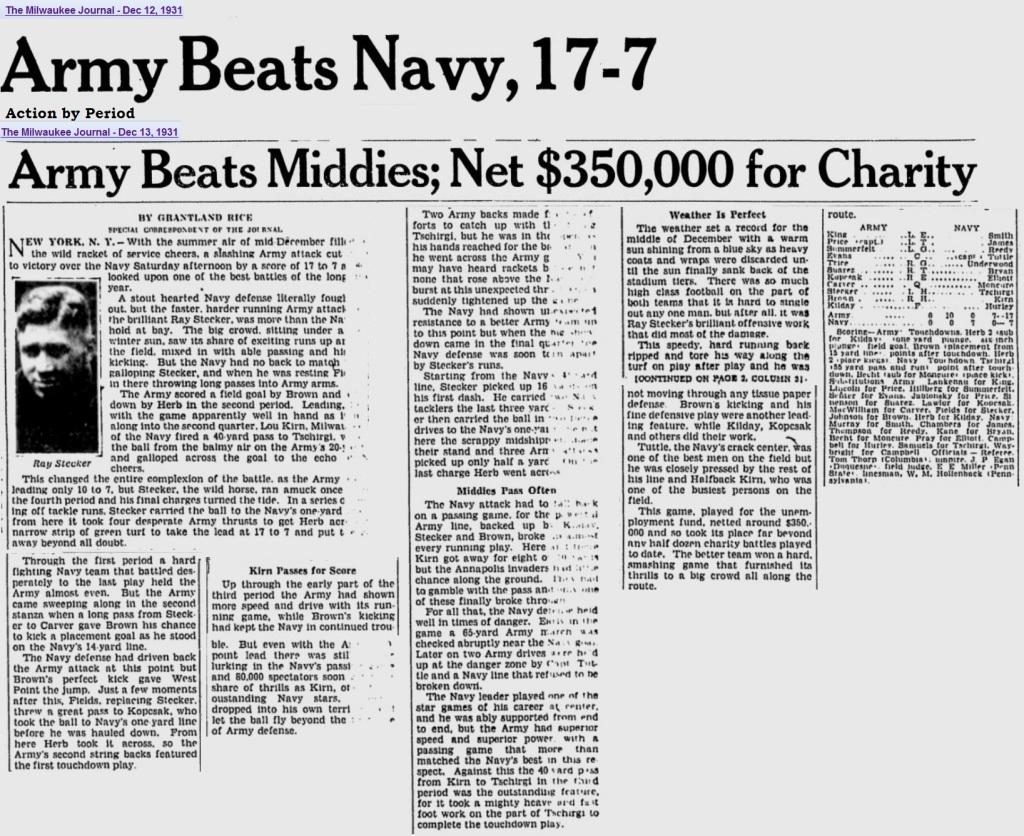 ArmyFB_1931_vsNavy_byGrantlandRice_MilwaukeeJournal_Dec12-131931