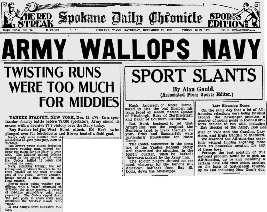 ArmyFB_1931_vsNavy_SpokaneDailyChronicle_Dec121931