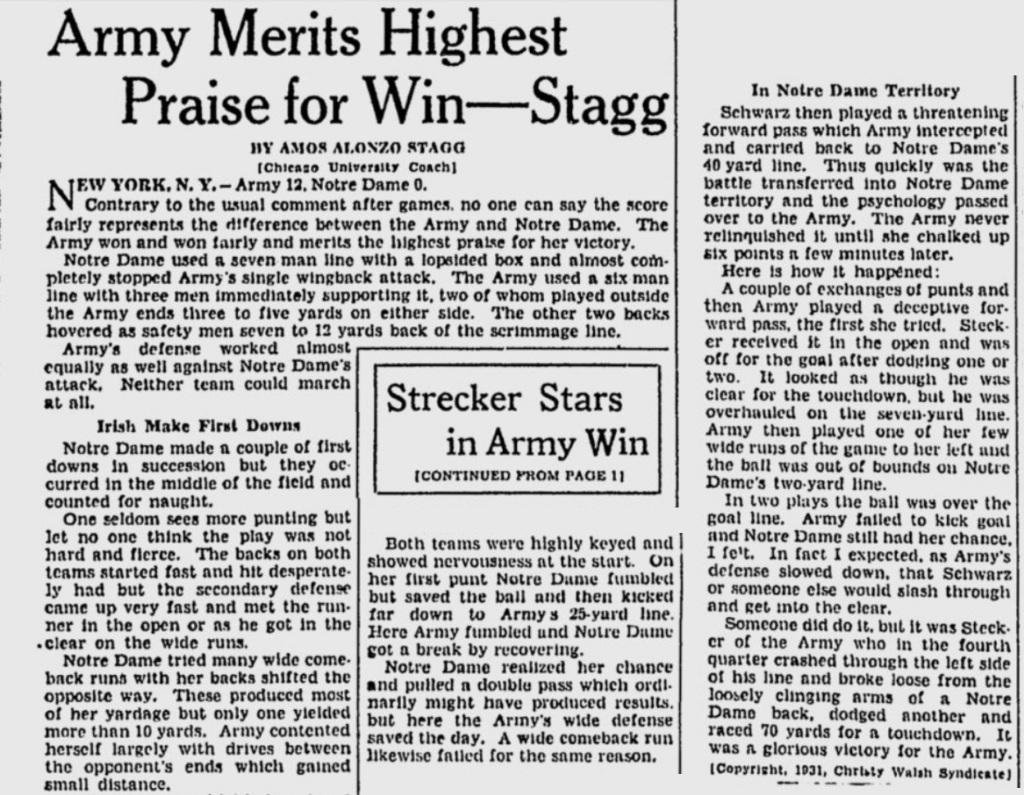 ArmyFB_1931_vsND_byAAStagg_MilwaukeeJournal_Nov291931