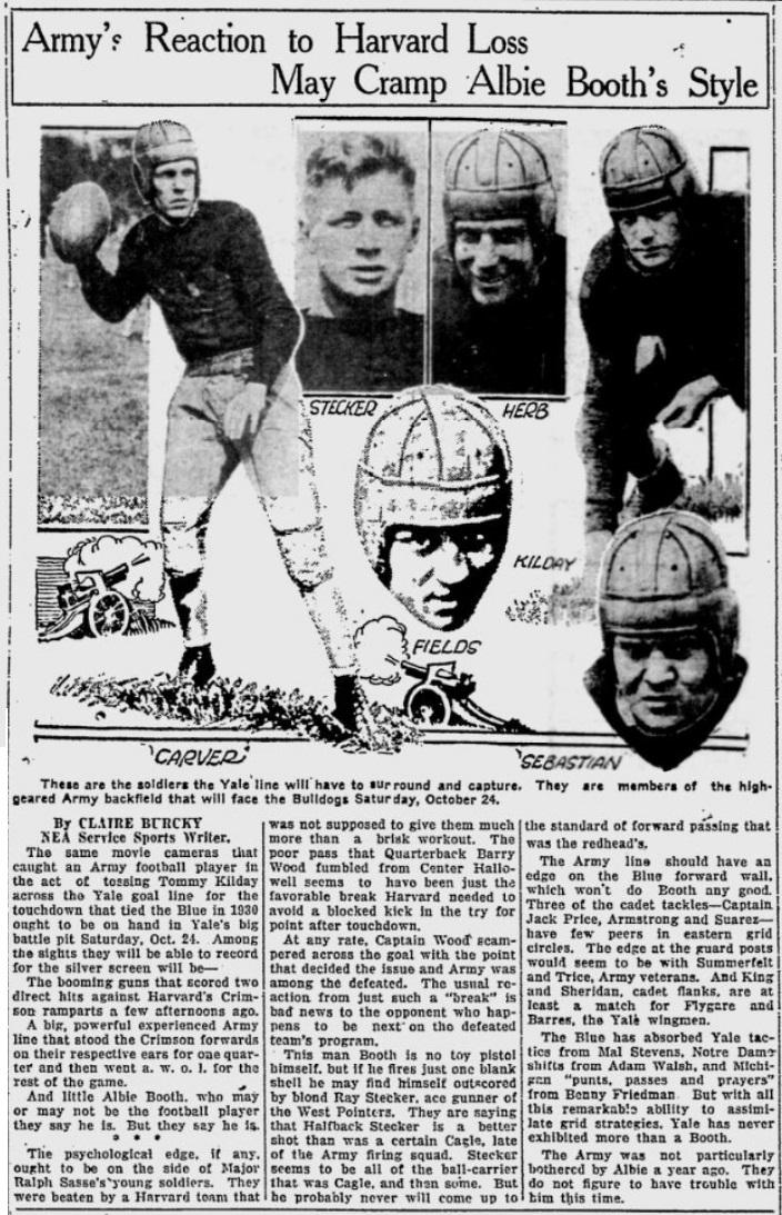 ArmyFB_1931_vsYale_stars_TelegraphHerald-TimesJournal_Oct211931