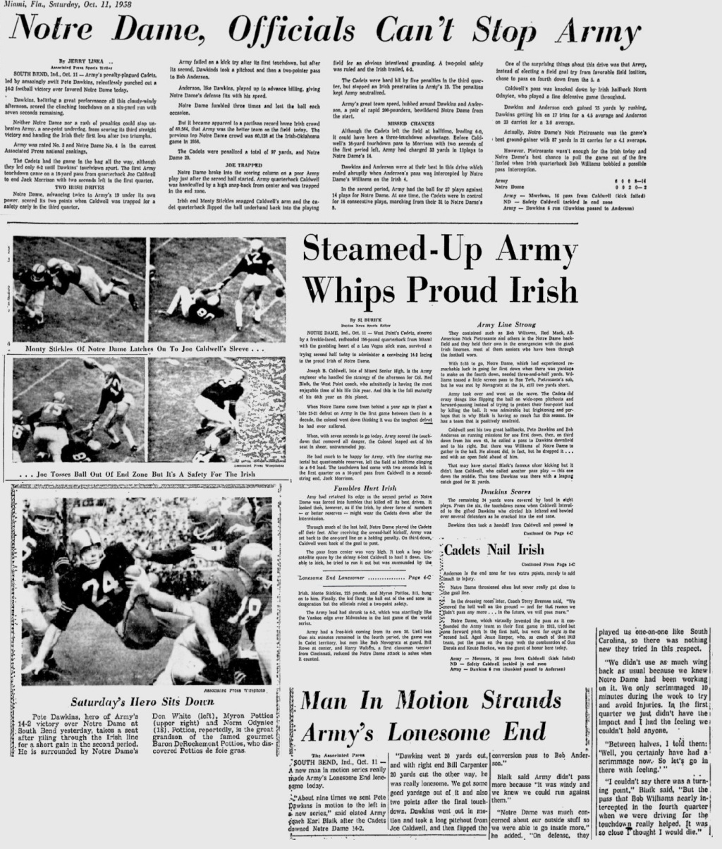 ArmyFB_1958_vsNotreDame_MiamiNews_Oct121958