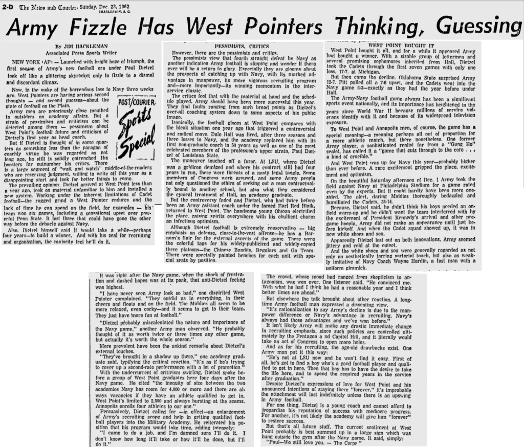 ArmyFB_1962_Dietzel-FirstSeasonFizzle_NewsandCourier_Dec231962