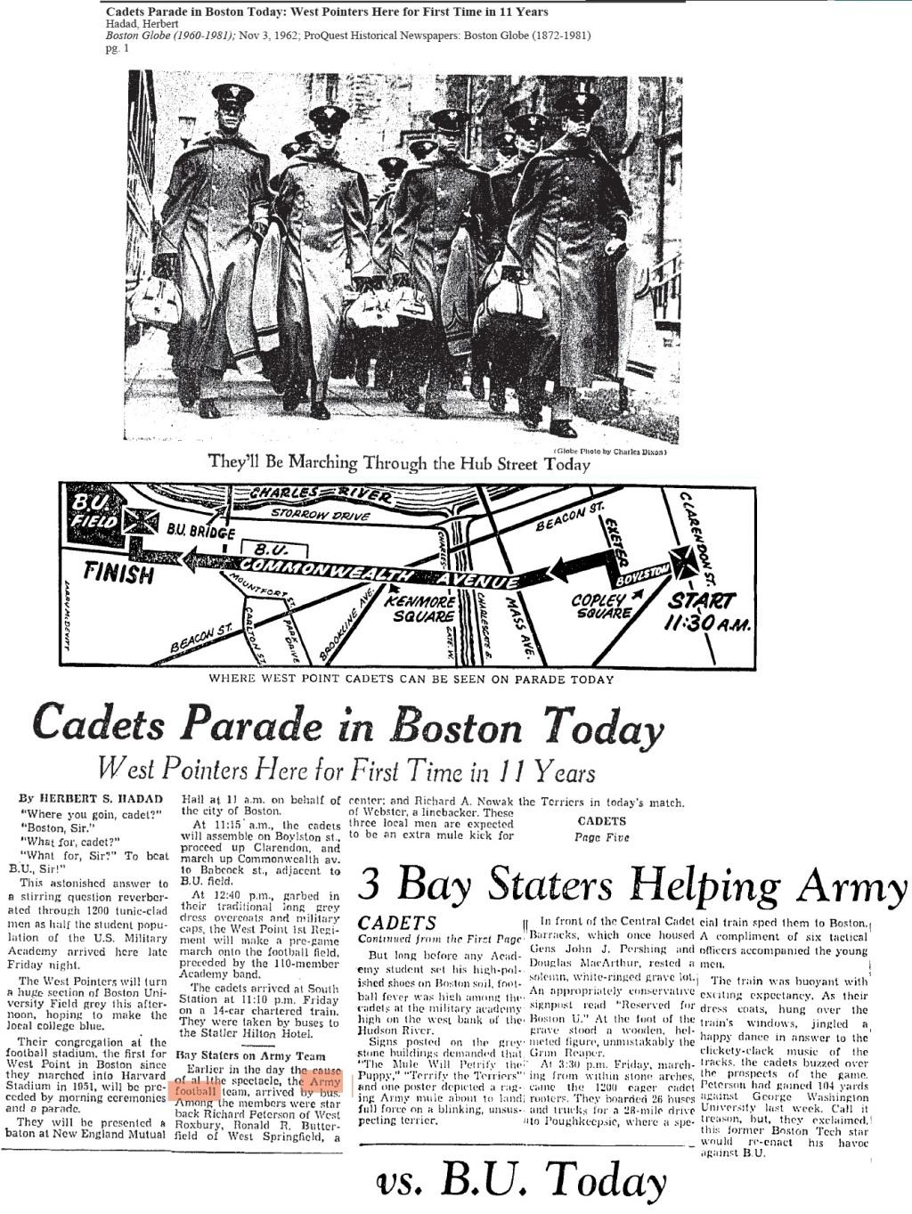 ArmyFB_1962_vsBU-BeantownParade_BostonGlobe_Nov31962