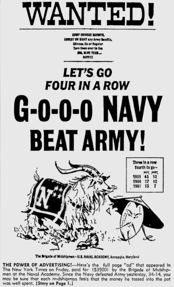 ArmyFB_1962_vsNavy-adinNYT_PittsburghPress_Dec21962