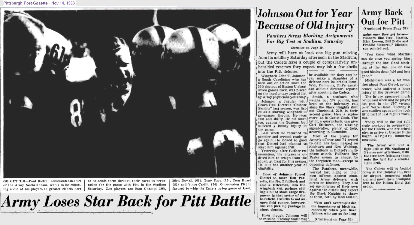 ArmyFB_1963_vsPitt-pre-injuries_NewsDispatch_Nov141963
