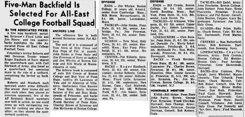 ArmyFB_1964_All-East_GettysburgTimes_Nov301964