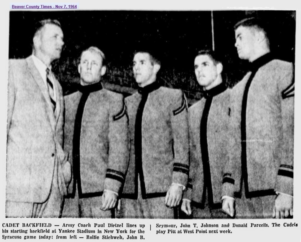 ArmyFB_1964_Dietzel-Stichweh-Seymour-Johnson-Parcells_NewsDispatch_Nov71964