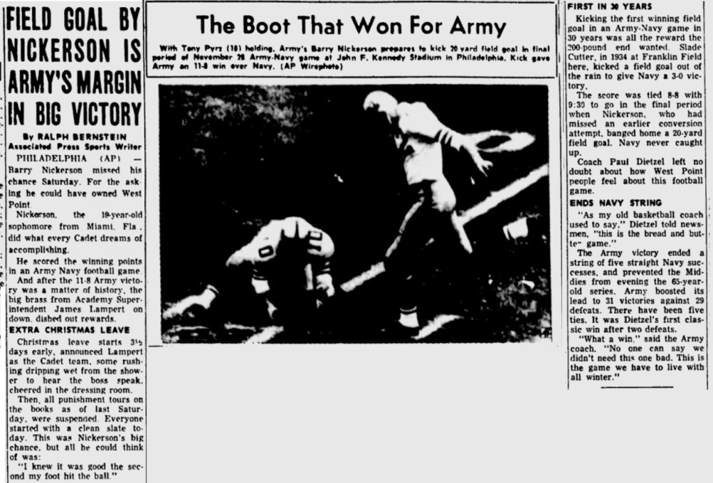 ArmyFB_1964_vsNavy_BarryNickerson_GettysburgTimes_Nov301964