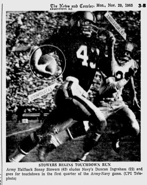 armyfb_1965_sonnystowers_newsandcourier_nov291965