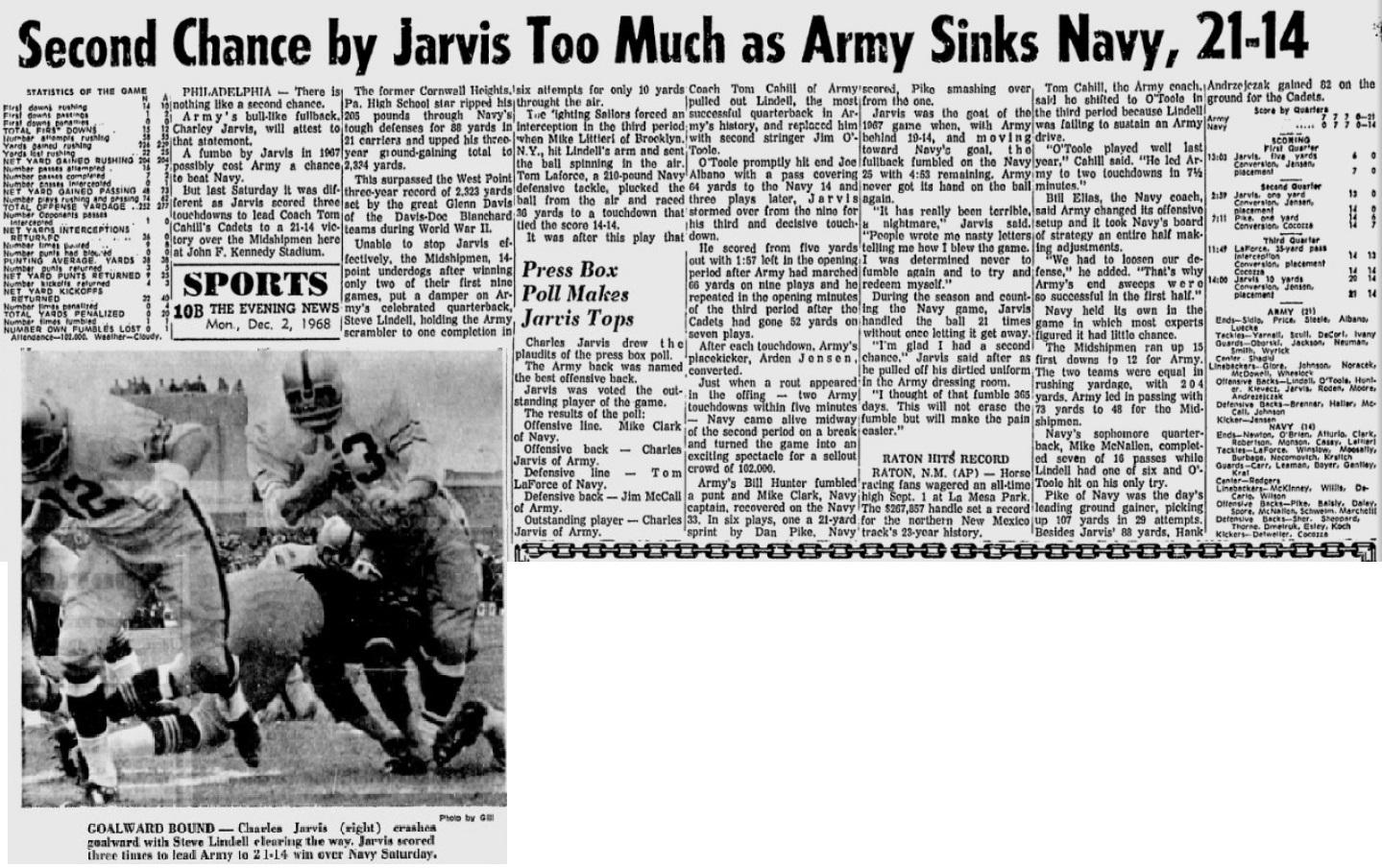 armyfb_1968_vsnavy-charleyjarvis_eveningnews_dec21968