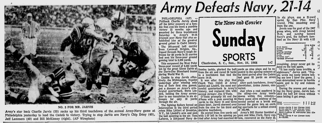 armyfb_1968_vsnavy_chaliejarvis_newsandcourier_dec11968