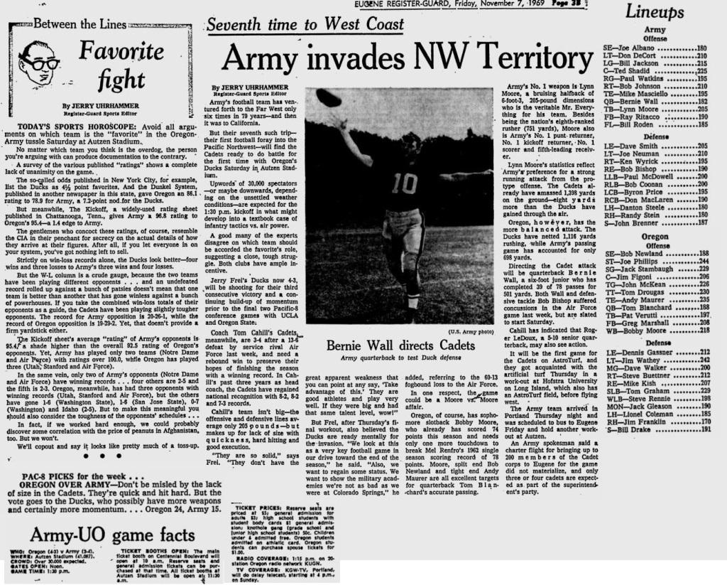 ArmyFB_1969_vsOregon_EugeneRegisterGuard_Nov71969