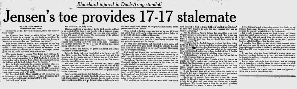 ArmyFB_1969_vsOregon_EugeneRegisterGuard_Nov91969