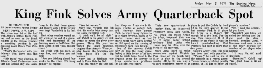 ArmyFB_1971_Fink_EveningNews_Nov41971