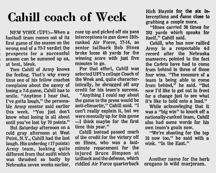 armyfb_1972_vsaf_cahill-coachoftheweek_sundaytimessentinel_nov81972