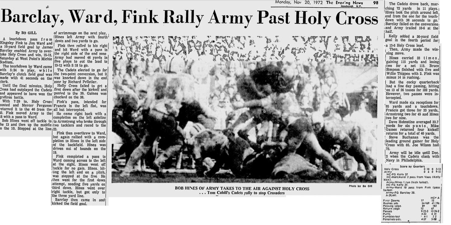 armyfb_1972_vsholycross_eveningnews_nov201972