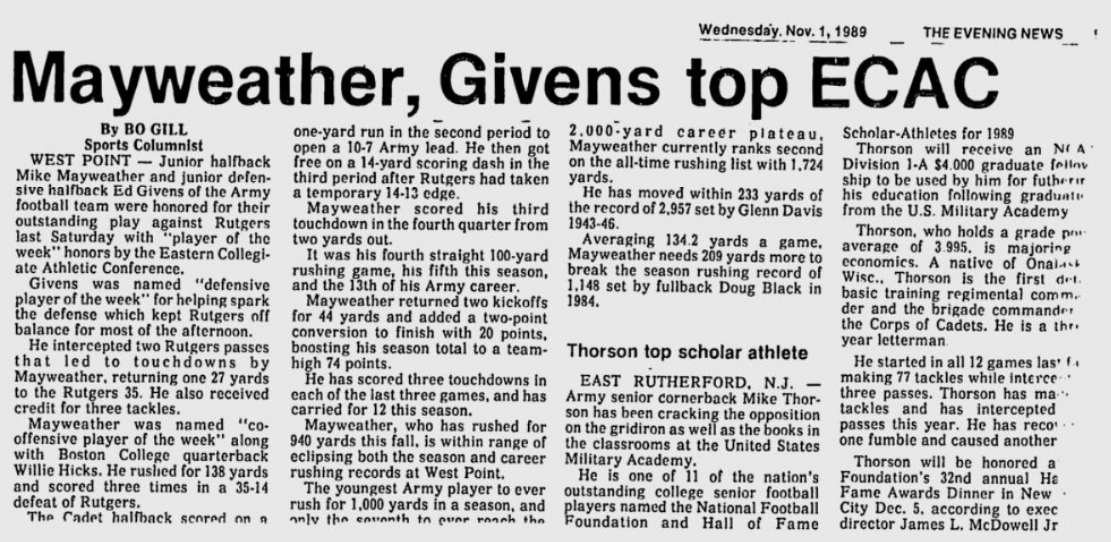 armyfb_1989_mayweather-givens-thorson_eveningnews_nov11989