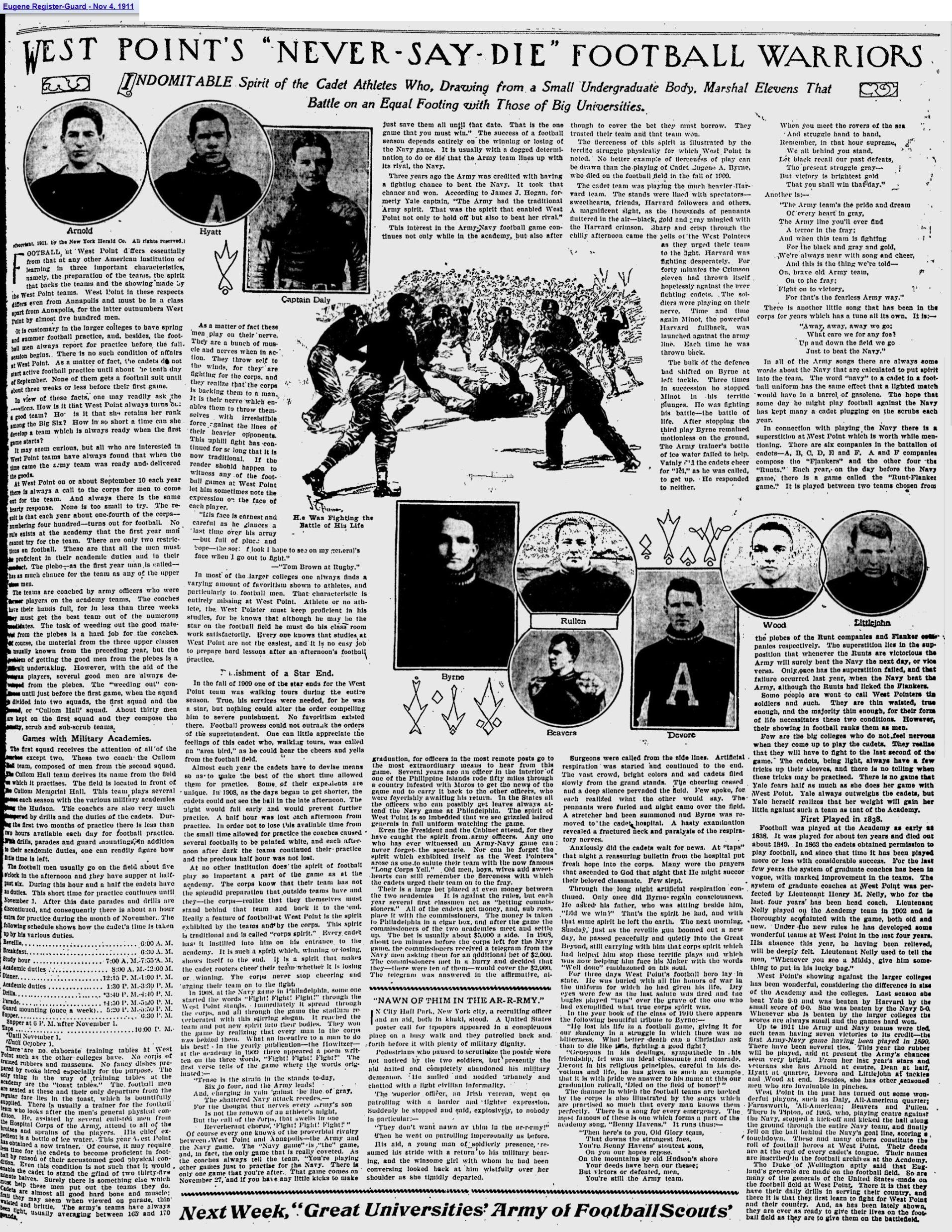 ArmyFB_1911_NeverSayDie_EugeneRegisterGuard_Nov41911