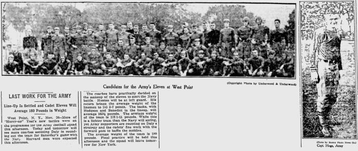 ArmyFB_1913_vsNavy-pre_Team-CptHoge_BostonEveningTranscript_Nov261913