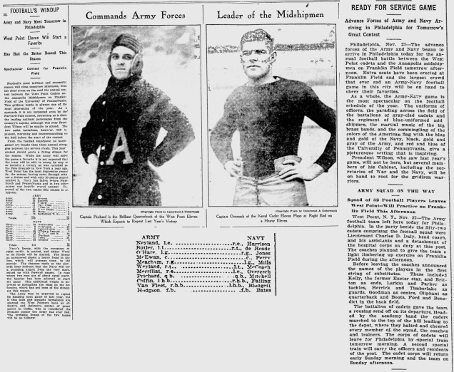 ArmyFB_1914_vsNavy-pre-CptPrichard_BostonEveningTranscript_Nov271914