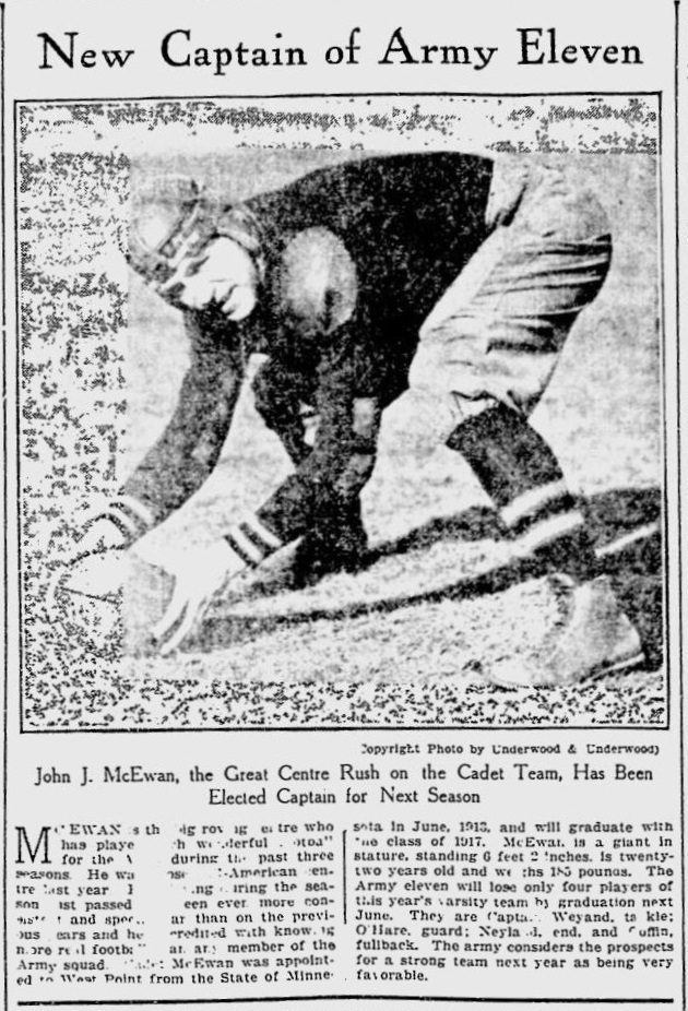 ArmyFB_1916_McEwan-newCaptain_BostonEveningTranscript_Nov281915